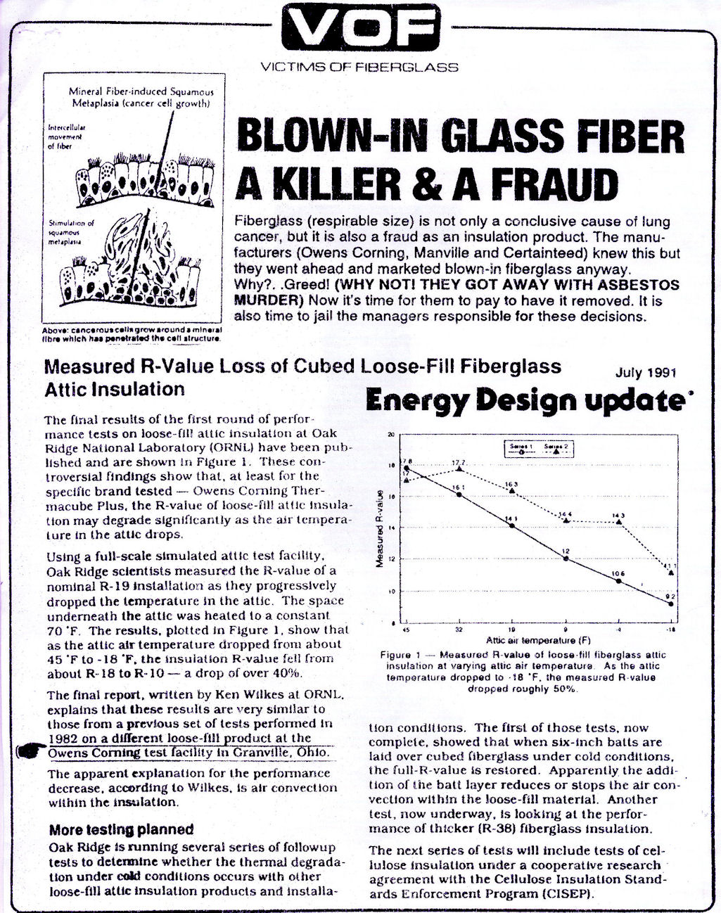 Fiberglass - respirable size is not only a conclusive cause of lung cancer, but it is also a fraud as an insulation product